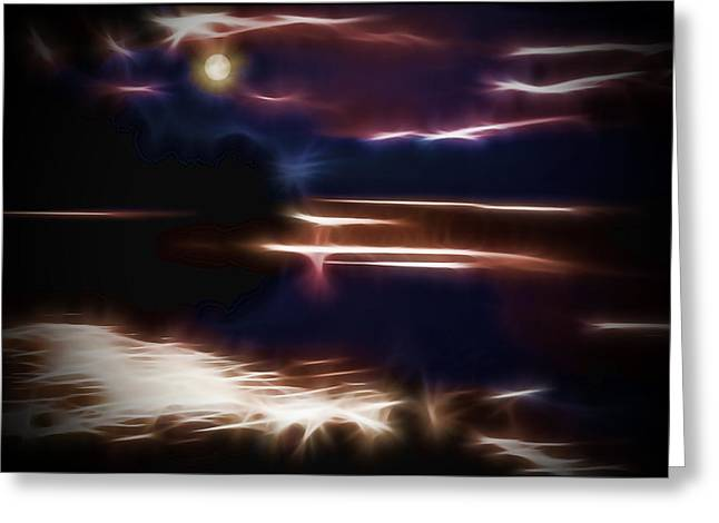 Moonlight On The River Greeting Cards - Moonlit night Greeting Card by Alexey Bazhan