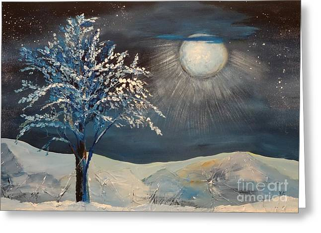 Snowy Night Greeting Cards - Moonlit Night Greeting Card by Kat McClure