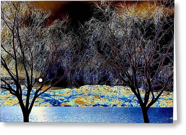 Moonlit Night Greeting Cards - Moonlit Okanagan Lake Greeting Card by Will Borden