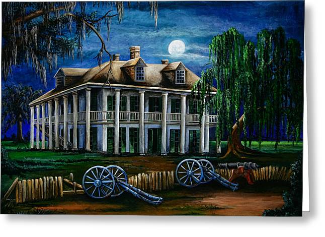 Cajun Greeting Cards - Moonlit Plantation Greeting Card by Elaine Hodges