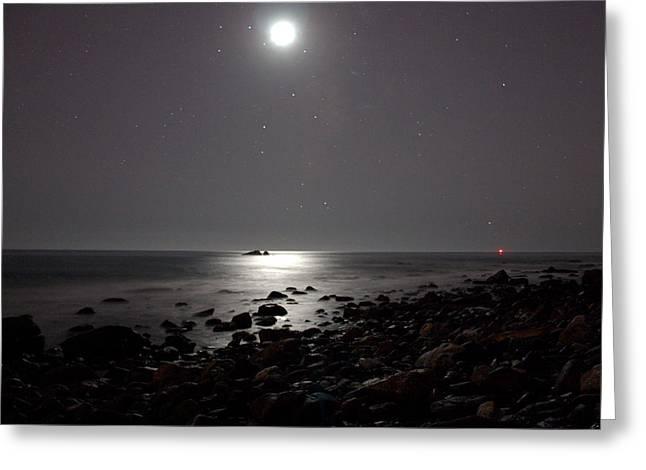 Moonlit Night Greeting Cards - Moonlit Rocks Greeting Card by Brad Scott