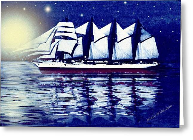 Smudgeart Greeting Cards - Moonlit Sails Greeting Card by Madeline  Allen - SmudgeArt