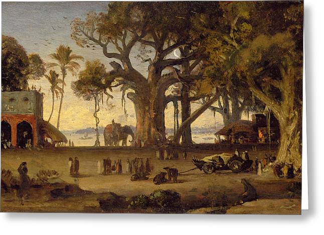Moonlit Greeting Cards - Moonlit Scene of Indian Figures and Elephants among Banyan Trees Greeting Card by Johann Zoffany