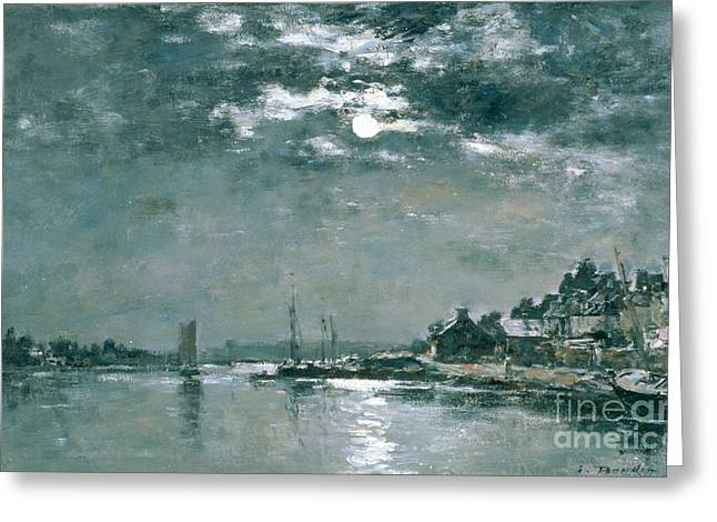 Moonlit Greeting Cards - Moonlit Seascape Greeting Card by Eugene Louis Boudin