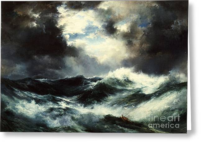 Rough Paintings Greeting Cards - Moonlit Shipwreck at Sea Greeting Card by Thomas Moran