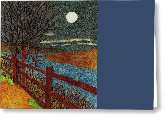 Primitive Tapestries - Textiles Greeting Cards - Moonlit Stream Greeting Card by Jan Schlieper