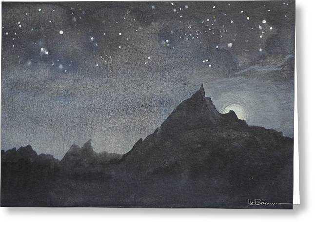 Tor Paintings Greeting Cards - Moonlit Tor Greeting Card by Leslie M Browning