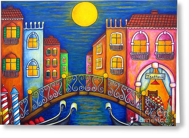 Moonlit Venice Greeting Card by Lisa  Lorenz