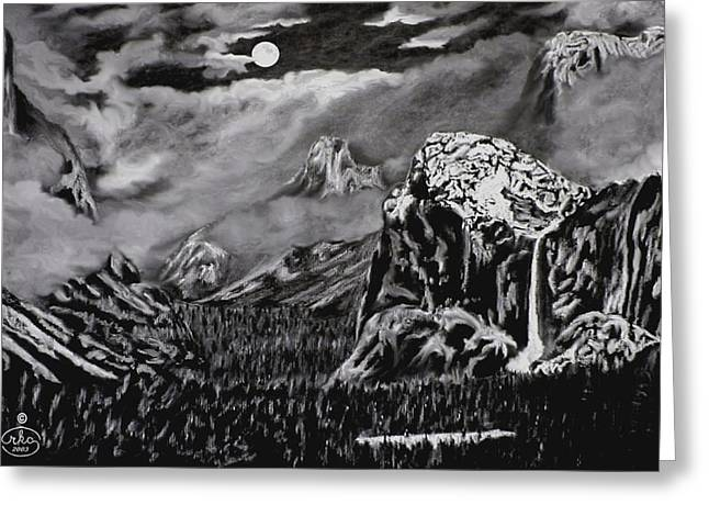 First Love Greeting Cards - Moonlit Yosemite Valley Greeting Card by Ronald Chambers