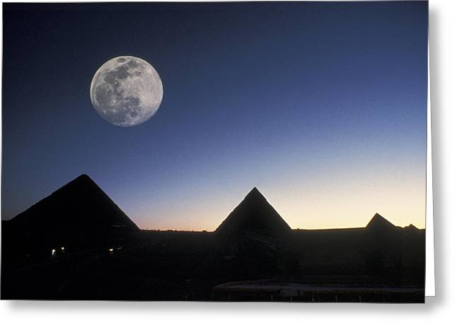 Moonrise Above Giza Pyramids In Egypt Greeting Card by Richard Nowitz