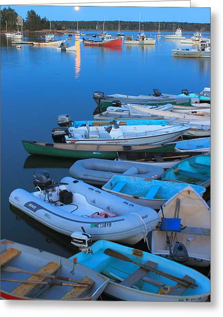 New England Ocean Greeting Cards - Moonrise and Boats at Round Pond Harbor Maine Greeting Card by John Burk