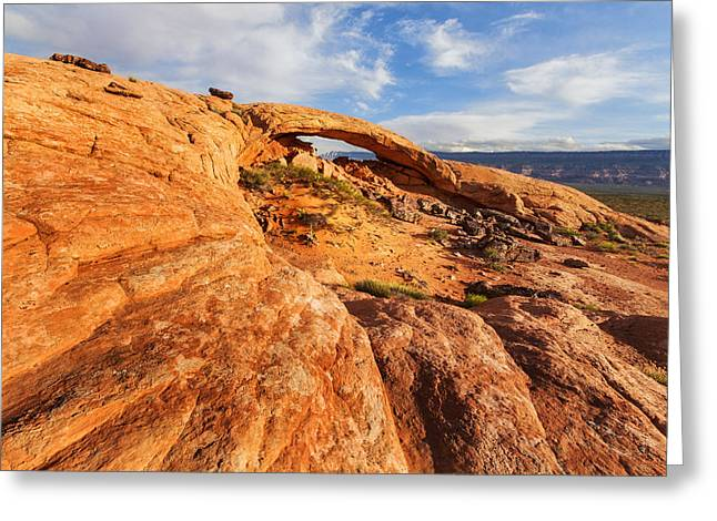 Holes In Sandstone Greeting Cards - Moonrise Arch Greeting Card by Alex Mironyuk