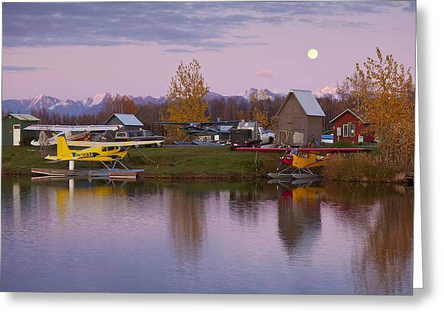 Cessna Greeting Cards - Moonrise at Lake Hood Greeting Card by Tim Grams