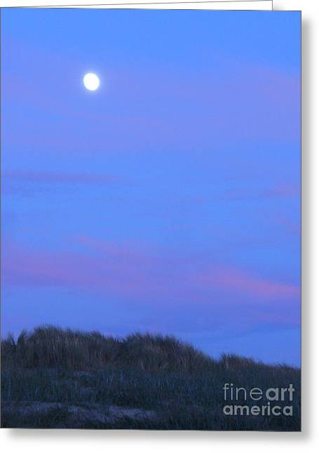 Moonrise Greeting Cards - Moonrise at Ocean Beach 1 Greeting Card by Lori Ziemba