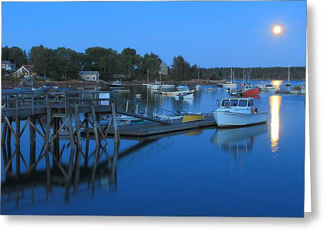 New England Ocean Greeting Cards - Moonrise at Round Pond Harbor Maine Greeting Card by John Burk
