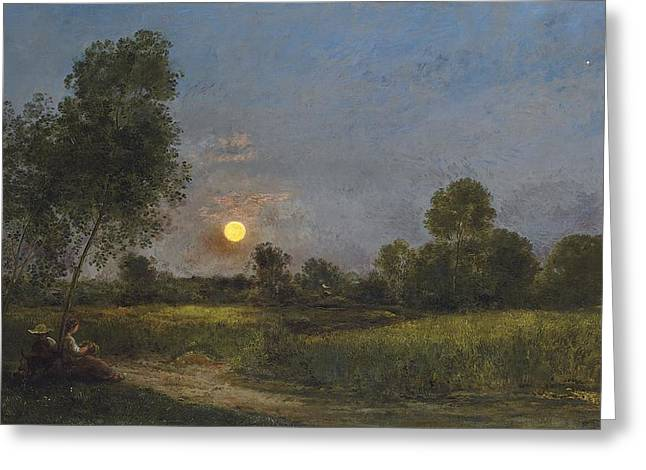 Sky Lovers Greeting Cards - Moonrise Greeting Card by Charles Francois Daubigny