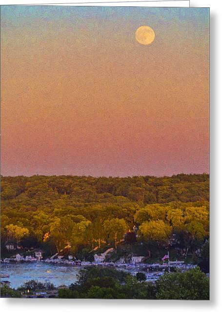Moonrise Fontana - Lake Geneva Wisconsin Greeting Card by Ben Thompson