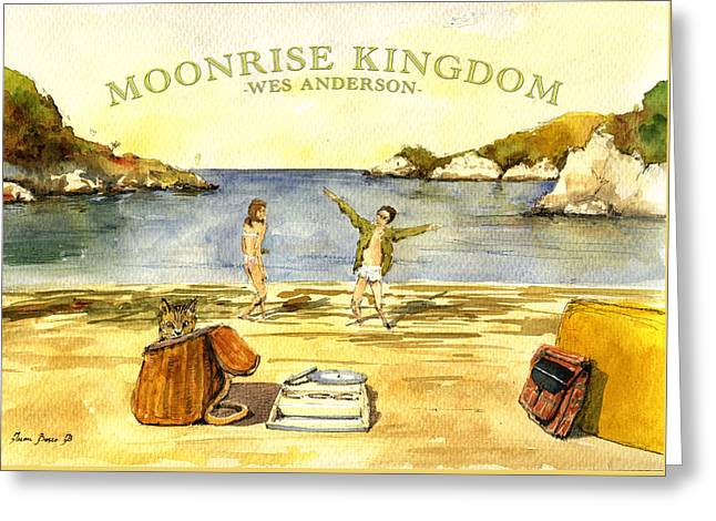 Moonrise Greeting Cards - Moonrise kingdom poster from watercolor Greeting Card by Juan  Bosco