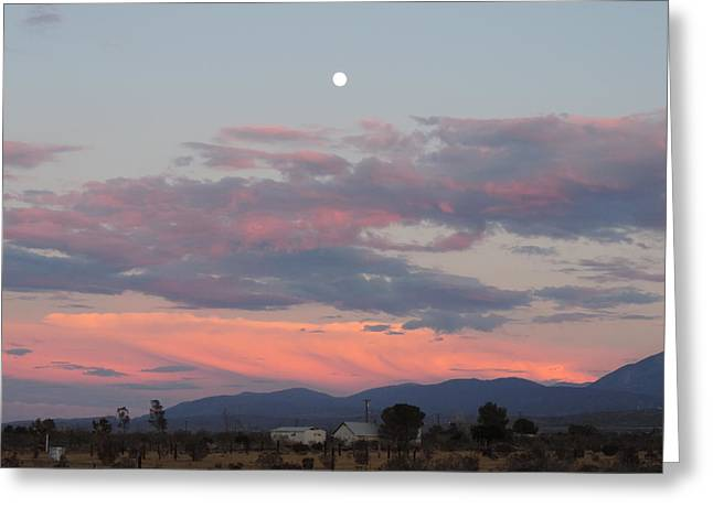 Moonrise Greeting Cards - Moonrise Landscape with Clouds Greeting Card by Silver Wolf Trading Post