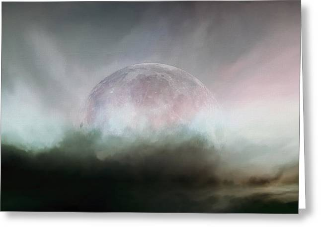 Inner Mixed Media Greeting Cards - Moonrise Greeting Card by LC Bailey