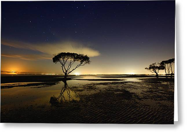 Moon Beach Greeting Cards - Moonrise Greeting Card by Mel Brackstone