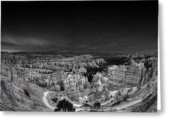 Moonrise Greeting Cards - Moonrise over Bryce Greeting Card by Anja Heid
