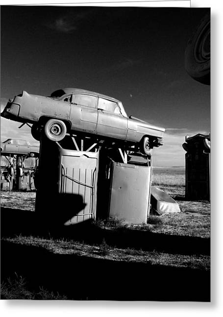 Tourist Trap Greeting Cards - Moonrise Over Carhenge Greeting Card by Todd Fox