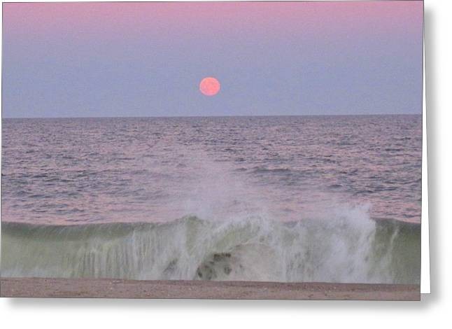 Pink And Green Hues Greeting Cards - Moonrise Over Crashing Wave Greeting Card by Janice Petrella-Walsh