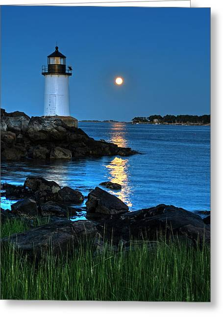 Moonrise Greeting Cards - Moonrise over Fort Pickering Lighthouse Salem MA Greeting Card by Toby McGuire