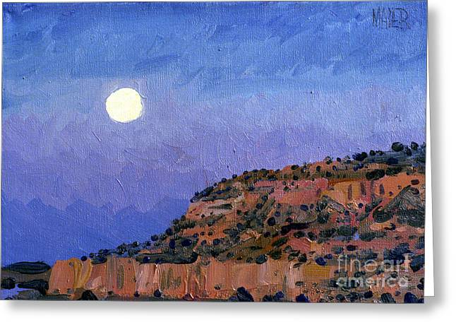 Moonrise Greeting Cards - Moonrise Over Gallup Greeting Card by Donald Maier
