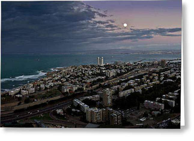 Moonrise Greeting Cards - Moonrise Over Haifa Bay Greeting Card by Nadya Ost