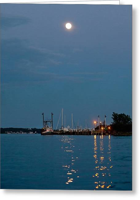 Sea Moon Full Moon Greeting Cards - Moonrise Over Montauk Greeting Card by Art Block Collections