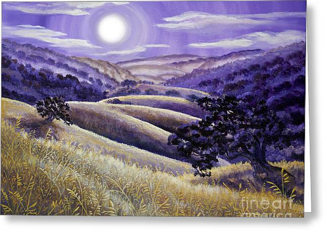 Alto Greeting Cards - Moonrise over Monte Bello Greeting Card by Laura Iverson