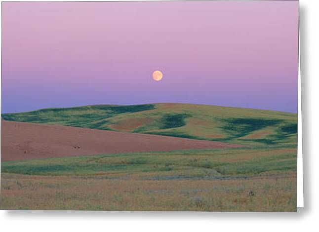 Moonrise Over Pea Fields, The Palouse Greeting Card by Panoramic Images
