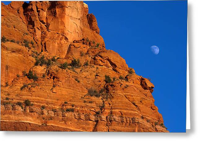 Moonrise over Red Rock Greeting Card by Mike  Dawson