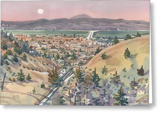 San Francisco Bay Greeting Cards - Moonrise Over San Mateo Greeting Card by Donald Maier