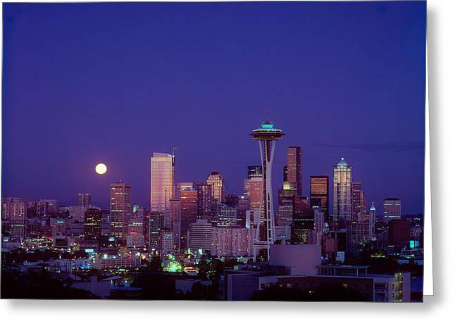 Culture Influenced Art Greeting Cards - Moonrise over Seattle skyline Greeting Card by Greg Vaughn - Printscapes