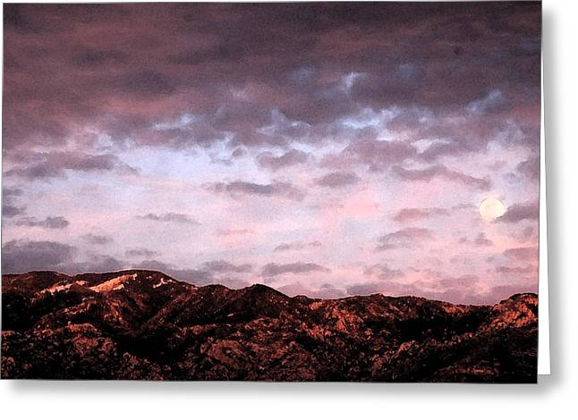Moonrise Greeting Cards - Moonrise over the Catalinas Greeting Card by Robert Ashbaugh