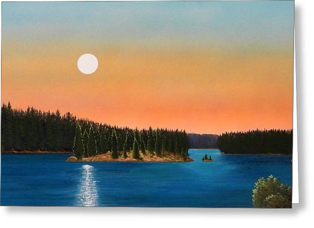 Paradise Meadow Greeting Cards - Moonrise Over The Lake Greeting Card by Frank Wilson