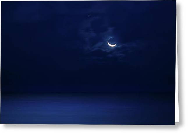 Moonrise Over The Sea Greeting Card by Mark Andrew Thomas