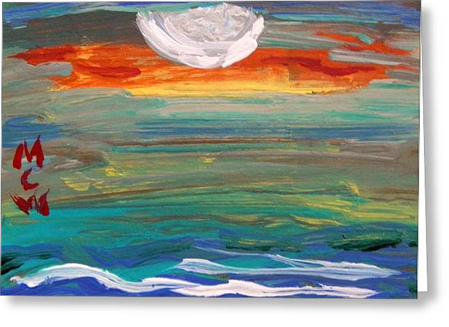 Moonrise Drawings Greeting Cards - Moonrise Over the Sea Greeting Card by Mary Carol Williams