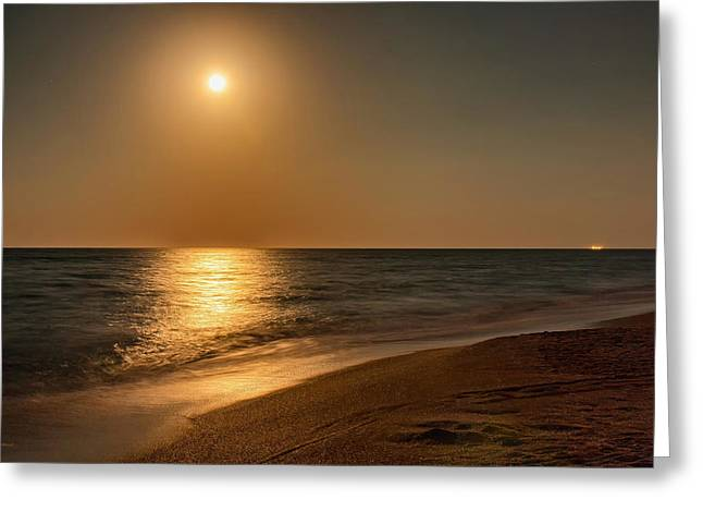 Ocean. Reflection Greeting Cards - Moonscape Greeting Card by John Bailey