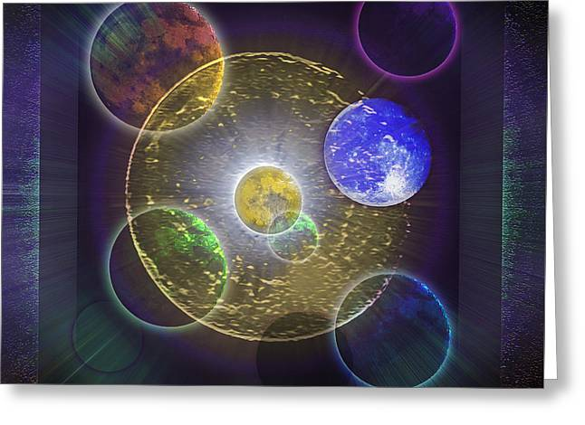 Intergalactic Space Mixed Media Greeting Cards - Moonscape Greeting Card by Steve Ohlsen