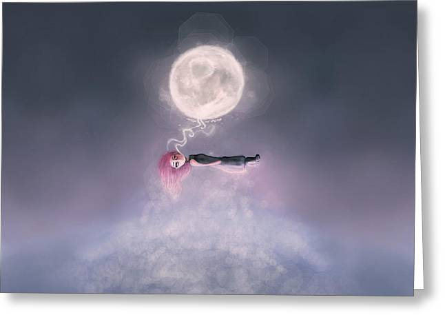 Cant Sleep Greeting Cards - Moonsende Back to Home Greeting Card by Rouble Rust