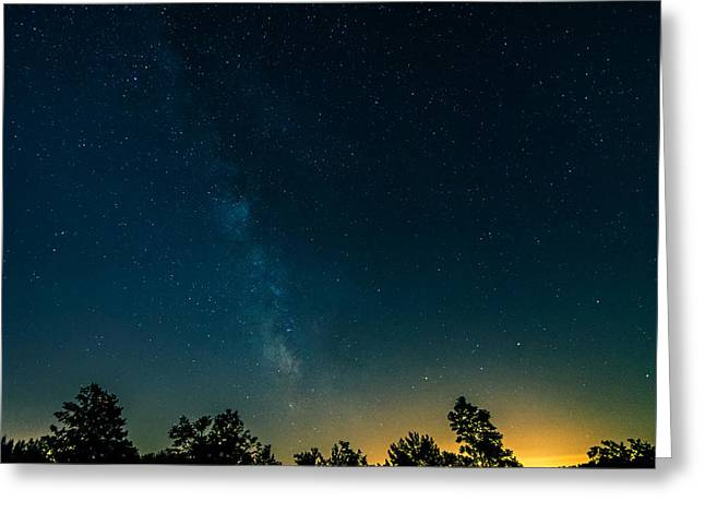 Moonset And The Milky Way Greeting Card by Steve Harrington