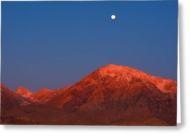 Moonset At Dawn Above Mount Tom - Eastern Sierra California Greeting Card by Ram Vasudev