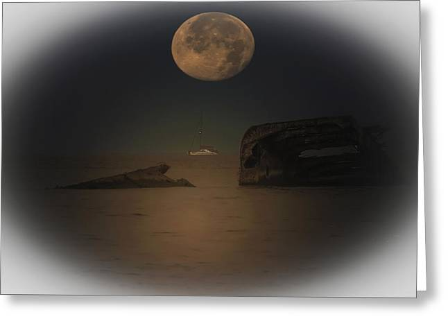 Moon Set Greeting Cards - Moonset Over Atlantus Greeting Card by Bill Cannon