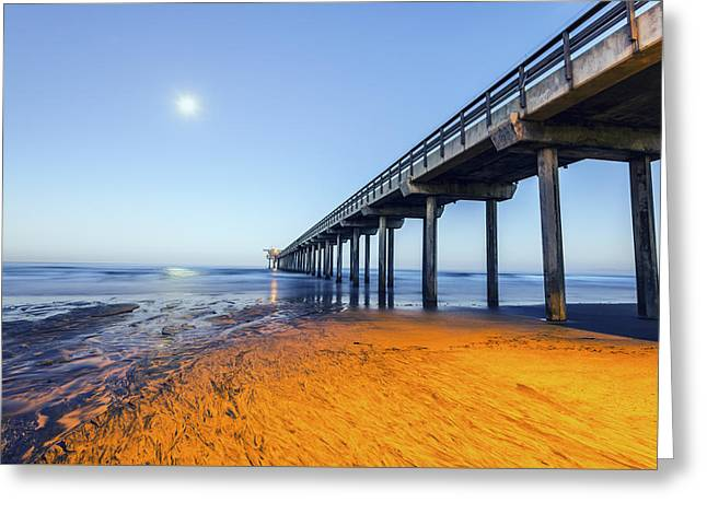 Moon Beach Greeting Cards - Moonset Seascape Greeting Card by Joseph S Giacalone