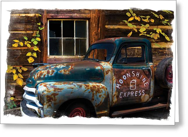 Old Roadway Greeting Cards - Moonshine Express Bordered Greeting Card by Debra and Dave Vanderlaan