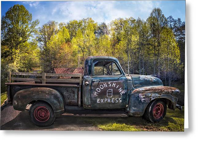 Tennessee Barn Greeting Cards - Moonshine in the Mountains Greeting Card by Debra and Dave Vanderlaan